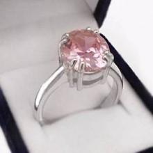 Stříbrný prsten s růžovým zirkonem (KPS139)