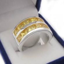 Stříbrný prsten se žlutými kamínky (KPS144)