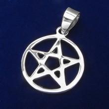 Přívěsek pentagram - stříbrný (KPRS050)
