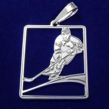 Přívěsek hokejista - stříbrný (KPRS049)